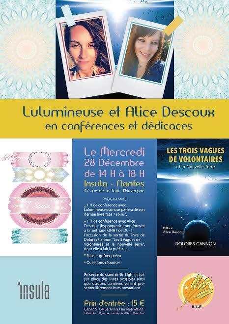 Lulumineuse et Alice Descoux en conférence à Nantes le 28 décembre 2016